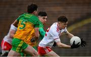 7 March 2020; Ryan Jones of Tyrone in action against Cormac Finn and Paul O'Hare of Donegal during the EirGrid Ulster GAA Football U20 Championship Final match between Tyrone and Donegal at St Tiernach's Park in Clones, Monaghan. Photo by Oliver McVeigh/Sportsfile