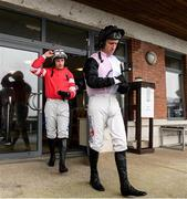 14 March 2020; Robbie Power, right, with Paul Townend on their way from the jockeys weight room before the start of The Bective Restaurant Maiden Hurdle at Navan Racecourse in Navan, Meath. Photo by Matt Browne/Sportsfile