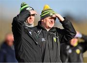 1 March 2020; Donegal manager Declan Bonner, right, along with selector Karl Lacey during the Allianz Football League Division 1 Round 5 match between Donegal and Monaghan at Fr. Tierney Park in Ballyshannon, Donegal. Photo by Oliver McVeigh/Sportsfile