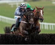 14 March 2020; Castlegrace Paddy, with Bryan Cooper up, jump the last on their way to winning Webster Cup Steeplechase ahead of Ornua, with Davy Russell up, at Navan Racecourse in Navan, Meath. Photo by Matt Browne/Sportsfile