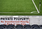14 March 2020; A general view of Oriel Park, home of Dundalk Football Club. Following directives from the Irish Government and the Department of Health the majority of the country's sporting associations have suspended all activity until March 29, in an effort to contain the spread of the Coronavirus (COVID-19). Photo by Ben McShane/Sportsfile