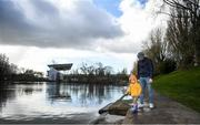 15 March 2020; Kevin Murphy with his daughter Fiadh, aged three, walking along the atlantic pond outside Páirc Uí Chaoimh. Following directives from the Irish Government and the Department of Health the majority of the country's sporting associations have suspended all activity until March 29, in an effort to contain the spread of the Coronavirus (COVID-19). Photo by Eóin Noonan/Sportsfile