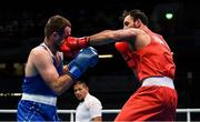 15 March 2020; Peter Tallosi of Hungary, right, exchanges punches with Liridon Nuha of Sweden in their Men's Light Heavyweight 81KG fight on Day Two of the Road to Tokyo European Boxing Olympic Qualifying Event at Copper Box Arena in Queen Elizabeth Olympic Park, London, England. Photo by Harry Murphy/Sportsfile