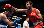 15 March 2020; Peter Tallosi of Hungary, right, exchanges punches with Liridon Nuha of Sweden in their Light Heavyweight 81KG bout on Day Two of the Road to Tokyo European Boxing Olympic Qualifying Event at Copper Box Arena in Queen Elizabeth Olympic Park, London, England. Photo by Harry Murphy/Sportsfile