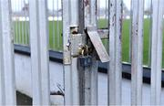 15 March 2020; A general view of a locked gate at St Conleth's Park in Newbridge, Kildare, at a time when Kildare should have been playing against Cavan in a Allianz Football League Division 2 Round 6 game. Following directives from the Irish Government and the Department of Health the majority of the country's sporting associations have suspended all activity until March 29, in an effort to contain the spread of the Coronavirus (COVID-19). Photo by Piaras Ó Mídheach/Sportsfile