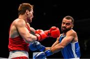 15 March 2020; Imam Khataev of Russia, left, and Gaetan Ntambwe of France in their Men's Light Heavyweight 81KG Preliminary round fight on Day Two of the Road to Tokyo European Boxing Olympic Qualifying Event at Copper Box Arena in Queen Elizabeth Olympic Park, London, England. Photo by Harry Murphy/Sportsfile
