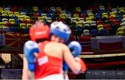16 March 2020; A general view of empty seats in the arena during the Women's Flyweight 51KG Preliminary round bout between Ellana Pileggi of Switzerland and Svetlana Soluianova of Russia on Day Three of the Road to Tokyo European Boxing Olympic Qualifying Event at Copper Box Arena in Queen Elizabeth Olympic Park, London, England. Photo by Harry Murphy/Sportsfile