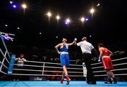 16 March 2020; Svetlana Soluianova of Russia, left, is declared victorios by the referee following her Women's Flyweight 51KG Preliminary round bout against Ellana Pileggi of Switzerland on Day Three of the Road to Tokyo European Boxing Olympic Qualifying Event at Copper Box Arena in Queen Elizabeth Olympic Park, London, England. Photo by Harry Murphy/Sportsfile