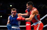 16 March 2020; Wahid Hambli of France, right, and Patriot Behrami of Kosovo during their Men's Welterweight 69KG Preliminary round bout on Day Three of the Road to Tokyo European Boxing Olympic Qualifying Event at Copper Box Arena in Queen Elizabeth Olympic Park, London, England. Photo by Harry Murphy/Sportsfile