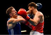 16 March 2020; Michael Nevin of Ireland, right, and Max Van Der Pas of Netherlands during their Men's Middleweight 75KG Preliminary round bout on Day Three of the Road to Tokyo European Boxing Olympic Qualifying Event at Copper Box Arena in Queen Elizabeth Olympic Park, London, England. Photo by Harry Murphy/Sportsfile