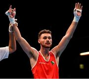 16 March 2020; Michael Nevin of Ireland is declared victorious after defeating Max Van Der Pas of Netherlands following their Men's Middleweight 75KG Preliminary round bout on Day Three of the Road to Tokyo European Boxing Olympic Qualifying Event at Copper Box Arena in Queen Elizabeth Olympic Park, London, England. Photo by Harry Murphy/Sportsfile