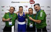16 March 2020; Brendan Irvine of Ireland, with coaches, from left, Zaur Antia, Dmitri Dmitruk and John Conlan following victory in the Men's Flyweight 52KG Preliminary round bout against Istvan Szaka of Hungary on Day Three of the Road to Tokyo European Boxing Olympic Qualifying Event at Copper Box Arena in Queen Elizabeth Olympic Park, London, England. Photo by Harry Murphy/Sportsfile