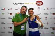 16 March 2020; Brendan Irvine of Ireland with coach John Conlan, left, following victory in the Men's Flyweight 52KG Preliminary round bout against Istvan Szaka of Hungary on Day Three of the Road to Tokyo European Boxing Olympic Qualifying Event at Copper Box Arena in Queen Elizabeth Olympic Park, London, England. Photo by Harry Murphy/Sportsfile