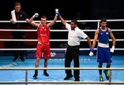 16 March 2020; Peter McGrail of Great Britain, left, reacts after qualifying for the Tokyo Olympics after defeating Kevin Godla of Czech Republic in the Men's Featherweight 57KG Preliminary round bout on Day Three of the Road to Tokyo European Boxing Olympic Qualifying Event at Copper Box Arena in Queen Elizabeth Olympic Park, London, England. Photo by Harry Murphy/Sportsfile
