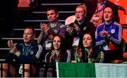 16 March 2020; The Irish team, including Kelly Harrington, right, cheer on Kurt Walker of Ireland ahead of his Men's Welterweight 57KG Preliminary round bout against Hamsat Shadalov of Germany on Day Three of the Road to Tokyo European Boxing Olympic Qualifying Event at Copper Box Arena in Queen Elizabeth Olympic Park, London, England. Photo by Harry Murphy/Sportsfile