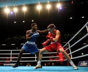 16 March 2020; Lewis Richardson of Great Britain, right, and Victor Yoka of France during their Men's Middleweight 75KG Preliminary round bout on Day Three of the Road to Tokyo European Boxing Olympic Qualifying Event at Copper Box Arena in Queen Elizabeth Olympic Park, London, England. Photo by Harry Murphy/Sportsfile