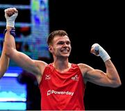 16 March 2020; Lewis Richardson of Great Britain is declared victorious after defeating Victor Yoka of France following their Men's Middleweight 75KG Preliminary round bout on Day Three of the Road to Tokyo European Boxing Olympic Qualifying Event at Copper Box Arena in Queen Elizabeth Olympic Park, London, England. Photo by Harry Murphy/Sportsfile