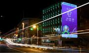 16 March 2020; A countdown clock to UEFA EURO 2020 is projected on a Dublin City Council office building, at Palace Street in Dublin, in advance of UEFA's meeting to discuss the upcoming tournament amid the on-going global pandemic of Coronavirus (COVID-19). Dublin, one of 12 host cities, is scheduled to host three group games and one round 16 game at the Aviva Stadium in June 2020. Photo by Stephen McCarthy/Sportsfile