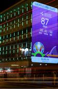 17 March 2020; A countdown clock to UEFA EURO 2020 is projected on a Dublin City Council office building, at Palace Street in Dublin, in advance of UEFA's meeting to discuss the upcoming tournament amid the on-going global pandemic of Coronavirus (COVID-19). Dublin, one of 12 host cities, is scheduled to host three group games and one round 16 game at the Aviva Stadium in June 2020. Photo by Stephen McCarthy/Sportsfile