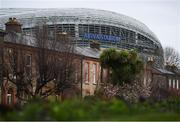 17 March 2020; The Aviva Stadium in Dublin, one of 12 stadiums across Europe due to host UEFA EURO 2020. Following UEFA's meeting to discuss the upcoming tournament amid the on-going global pandemic of Coronavirus (COVID-19), the decision has been taken to postpone the tournament until June 2021. Dublin is scheduled to host three group games and one round 16 game at the Aviva Stadium. Photo by Stephen McCarthy/Sportsfile