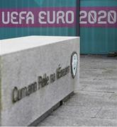 17 March 2020; Football Association of Ireland headquarters in Abbotstown, Dublin. Following UEFA's meeting to discuss the upcoming tournament amid the on-going global pandemic of Coronavirus (COVID-19), the decision has been taken to postpone the tournament until June 2021. Dublin, one of 12 host cities across Europe, is due to host UEFA EURO 2020. The Aviva Stadium is scheduled to host three group games and one round 16 game. Photo by Stephen McCarthy/Sportsfile