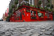 17 March 2020; The Temple Bar in Dublin following UEFA's meeting to discuss the upcoming tournament amid the on-going global pandemic of Coronavirus (COVID-19), the decision has been taken to postpone the tournament until June 2021. Dublin, one of 12 host cities across Europe, is due to host UEFA EURO 2020. The Aviva Stadium is scheduled to host three group games and one round 16 game. Photo by Stephen McCarthy/Sportsfile