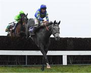 17 March 2020; Shakeytry, with Philip Enright up, jumps the last ahead of Conright Boy, with Hugh Morgan up, who finished second, on their way to winning the Tomcoole Farm Ltd. Novice Handicap Steeplechase after jumping the last at Wexford Racecourse in Carricklawn, Wexford. Photo by Matt Browne/Sportsfile