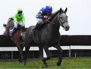 17 March 2020; Shakeytry, with Philip Enright up, leads Conright Boy, with Hugh Morgan up, who finished second, on their way to winning the Tomcoole Farm Ltd. Novice Handicap Steeplechase after jumping the last at Wexford Racecourse in Carricklawn, Wexford. Photo by Matt Browne/Sportsfile