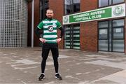 18 March 2020; Glenavon footballer Conan Byrne, formerly of UCD, Sporting Fingal, Shelbourne and St Patrick's Athletic, is pictured outside Tallaght Stadium during his marathon walk in aid of the Irish Cancer Society which took in every SSE Airtricity League of Ireland stadium in the Dublin region and which started off in Tolka Park and finished at the Aviva Stadium. Photo by Sam Barnes/Sportsfile
