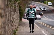 18 March 2020; Glenavon footballer Conan Byrne, formerly of UCD, Sporting Fingal, Shelbourne and St Patrick's Athletic, passes through Dundrum during his marathon walk in aid of the Irish Cancer Society which took in every SSE Airtricity League of Ireland stadium in the Dublin region and which started off in Tolka Park and finished at the Aviva Stadium. Photo by Sam Barnes/Sportsfile