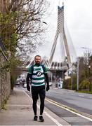 18 March 2020; Glenavon footballer Conan Byrne, formerly of UCD, Sporting Fingal, Shelbourne and St Patrick's Athletic, passes William Dargan Bridge in Dundrum during his marathon walk in aid of the Irish Cancer Society which took in every SSE Airtricity League of Ireland stadium in the Dublin region and which started off in Tolka Park and finished at the Aviva Stadium. Photo by Sam Barnes/Sportsfile