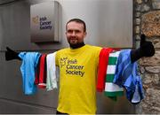 18 March 2020; Glenavon footballer Conan Byrne, formerly of UCD, Sporting Fingal, Shelbourne and St Patrick's Athletic, pictured outside the Irish Cancer Society following his marathon walk in aid of the Irish Cancer Society which took in every SSE Airtricity League of Ireland stadium in the Dublin region and which started off in Tolka Park and finished at the Aviva Stadium. Photo by Sam Barnes/Sportsfile