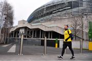 18 March 2020; Glenavon footballer Conan Byrne, formerly of UCD, Sporting Fingal, Shelbourne and St Patrick's Athletic, pictured outside the Aviva Stadium during his marathon walk in aid of the Irish Cancer Society which took in every SSE Airtricity League of Ireland stadium in the Dublin region and which started off in Tolka Park and finished at the Aviva Stadium. Photo by Sam Barnes/Sportsfile