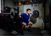 19 March 2020; Enduro mountain bike rider, Greg Callaghan, during a gym session at his home in Dublin. He is currently training at home, following the postponement of the opening two rounds of the Enduro World Series, in Columbia and Chile. Photo by Ramsey Cardy/Sportsfile