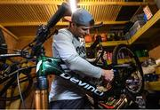 19 March 2020; Enduro mountain bike rider, Greg Callaghan, prepares his bike for a training session in Dublin. He is currently training at home, following the postponement of the opening two rounds of the Enduro World Series, in Columbia and Chile. Photo by Ramsey Cardy/Sportsfile