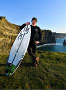 19 March 2020; Professional big wave surfer Ollie O'Flaherty poses for a portrait at the Cliffs of Moher, Clare. Photo by Eóin Noonan/Sportsfile