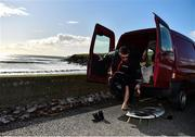 19 March 2020; Professional big wave surfer Ollie O'Flaherty preparing for a training session at Lahinch Beach, Clare. Photo by Eóin Noonan/Sportsfile