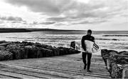 19 March 2020; (EDITORS NOTE: Image has been converted to black & white) Professional big wave surfer Ollie O'Flaherty during a training session at Lahinch Beach, Clare. Photo by Eóin Noonan/Sportsfile