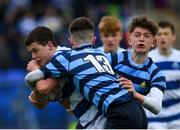 9 March 2020; Harry Whelan of Blackrock College is tackled by Emmet Brady, left, and Ross O'Connor of St Vincent's, Castleknock College, during the Bank of Ireland Leinster Schools Junior Cup Semi-Final match between Blackrock College and St Vincent's, Castleknock College at Energia Park in Donnybrook, Dublin. Photo by Ramsey Cardy/Sportsfile