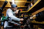 19 March 2020; Enduro mountain bike rider, Greg Callaghan, prepares his bike for a training session at his home in Dublin. He is currently training at home, following the postponement of the opening two rounds of the Enduro World Series, in Columbia and Chile. Photo by Ramsey Cardy/Sportsfile
