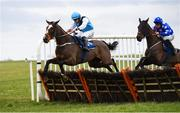 21 March 2020; Politesse, left, with Conor Orr up, jumps the last on their way to winning The Adare Manor Opportunity Maiden Hurdle ahead of eventual second place Fakiera, with Sean O'Keeffe up, at Thurles Racecourse in Tipperary. Photo by Matt Browne/Sportsfile