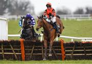 21 March 2020; Jetz, with Robbie Power up, jumps the last on their way to winning The BetVictor Hurdle ahead of Mary Frances, left, with Eoin Walsh up, at Thurles Racecourse in Tipperary. Photo by Matt Browne/Sportsfile