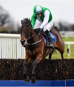 21 March 2020; Zero Ten, with David Mullins up, jumps the last on their way to winning the Pierce Molony Memorial Novice Steeplechase at Thurles Racecourse in Tipperary. Photo by Matt Browne/Sportsfile