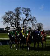 22 March 2020; Runners and riders ahead of the Connolly's RED MILLS Irish EBF Auction Maiden Hurdle at Downpatrick Racecourse in Downpatrick, Down. Photo by Ramsey Cardy/Sportsfile