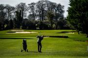 22 March 2020; Member of Craddockstown Golf Club in Kildare, Pat Moloney, enjoys a round of golf while adhering to the guidelines of social distancing set down by the Health Service Executive. Following directives from the Irish Government and the Department of Health the majority of the country's sporting associations have suspended all activity until March 29, in an effort to contain the spread of the Coronavirus (COVID-19) Photo by Brendan Moran/Sportsfile