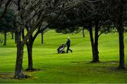 22 March 2020; Member of Craddockstown Golf Club in Kildare, Noel O'Brien enjoys a round of golf while adhering to the guidelines of social distancing set down by the Health Service Executive. Following directives from the Irish Government and the Department of Health the majority of the country's sporting associations have suspended all activity until March 29, in an effort to contain the spread of the Coronavirus (COVID-19) Photo by Brendan Moran/Sportsfile