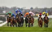 23 March 2020; Lemista, centre, with Chris Hayes up, races alongside eventual second place Hamariyna, left, with Ronan Whelan up, and eventual third place Even So, right, with Colin Keane up, on their way to winning the Lodge Park Stud Irish EBF Park Express Stakes at Naas Racecourse in Naas, Co Kildare. Photo by Seb Daly/Sportsfile