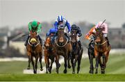 23 March 2020; Lemista, centre, with Chris Hayes up, races alongside eventual second place Hamariyna, left, with Ronan Whelan up, and eventual third place, Even So, right, with Colin Keane up, on their way to winning the Lodge Park Stud Irish EBF Park Express Stakes at Naas Racecourse in Naas, Co Kildare. Photo by Seb Daly/Sportsfile