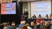 7 March 2020; Ladies Gaelic Football Association presidential candidate Dominic Leech makes a speech before the vote during the LGFA Annual Congress 2020 at the Loughrea Hotel & Spa in Loughrea, Galway. Photo by Piaras Ó Mídheach/Sportsfile