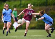 23 February 2020; Andrea Trill of Galway shoots under pressure from Muireann Ní Scanaill of Dublin during the 2020 Lidl Ladies National Football League Division 1 Round 4 match between Dublin and Galway at Dublin City University Sportsgrounds in Glasnevin, Dublin. Photo by Piaras Ó Mídheach/Sportsfile